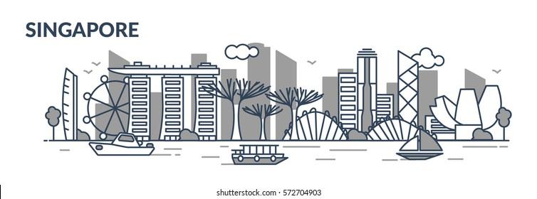 Singapore city. Line stile. Vector illustration