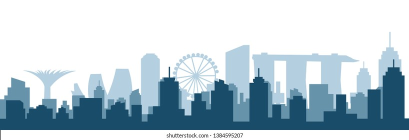 Singapore city silhouette skyline vector