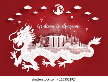 Singapore city skyline with buildings and famous landmarks with dragon in paper cut style vector illustration. Travel poster, post card and tour company.