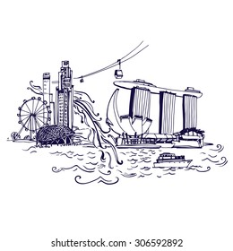 Singapore city skyline at Marina Bay vector illustration Places and Architecture around the World  - Collection of hand drawn illustrations