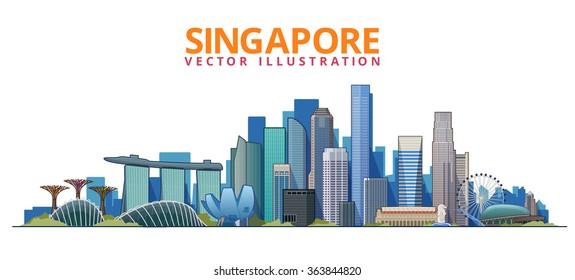 Singapore city skyline at Marina Bay vector illustration