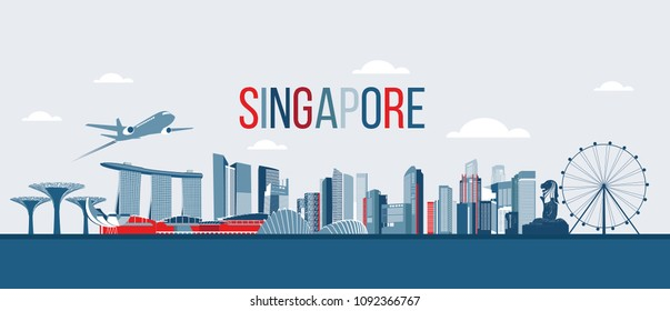 Singapore city skyline. Travel Singapore. vector illustration