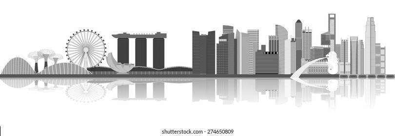 Singapore city skyline vector illustration