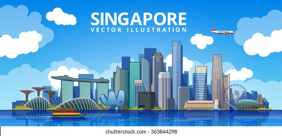 Singapore city skyline. vector illustration