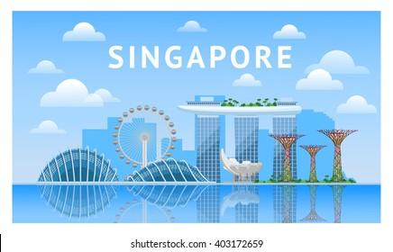 Singapore city skyline. Vector illustration. Travel to Singapore.