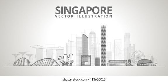 Singapore city skyline. vector line illustration