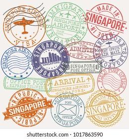 Singapore City Stamp Vector Art Postal Passport Design Badge Seal Rubber.