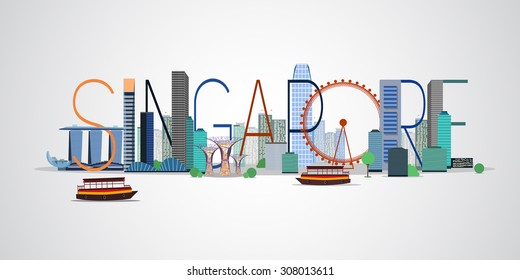 Singapore city. Vector illustration