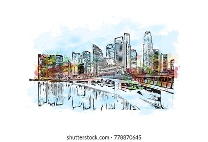 Singapore City. Watercolor splash with hand drawn sketch in vector illustration.