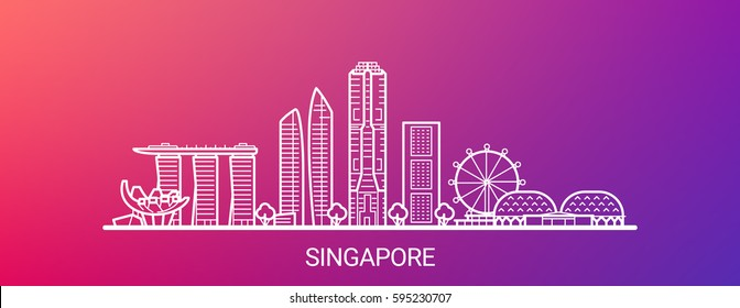 Singapore city white line on colorful background. All Singapore buildings - customizable objects with opacity mask, so you can simple change composition and background. Line art.