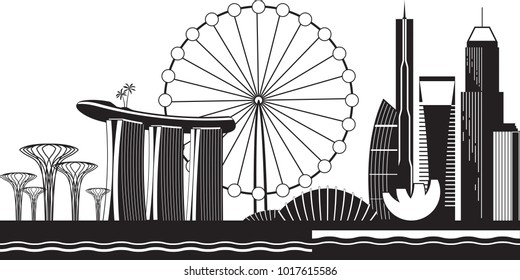 Singapore cityscape by day - vector illustration