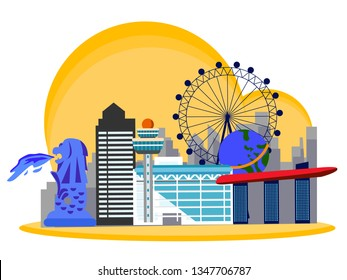 Singapore country design illustration template. World vacation travel Asia Asian collection