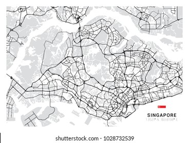 Singapore Country Map Outline