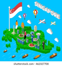 Singapore cultural symbols map for tourists with transport landmarks and national seafood dishes isometric poster vector illustration