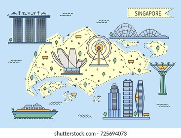 Singapore decorative map in flat line style with main city attractions. Vector illustration concept of singaporean buildings for banners, cards, posters, graphic and web design.