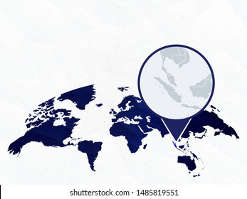 Singapore detailed map highlighted on blue rounded World Map. Map of Singapore in circle.