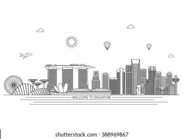 Singapore detailed Skyline. Travel and tourism background. Vector background. line illustration. Line art style