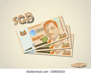 singapore dollars money minimal vector graphic design