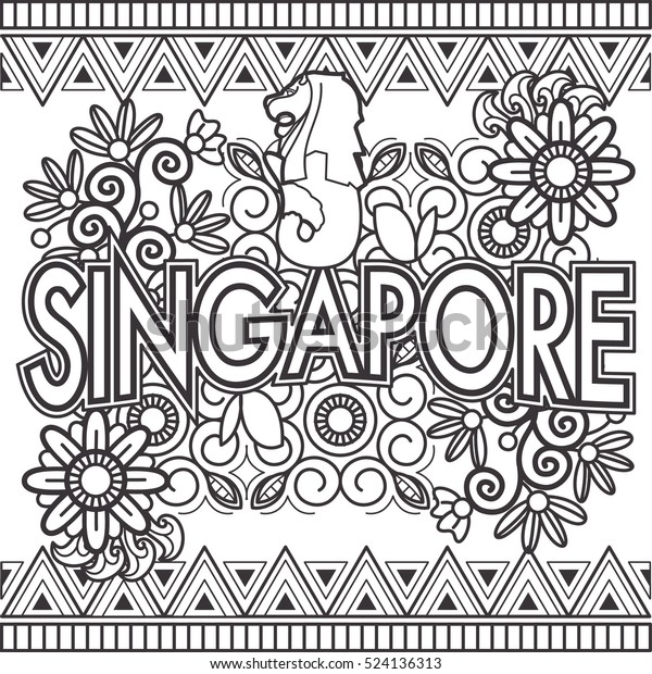 Singapore Doodle Art Text Stock Vector (Royalty Free) 524136313