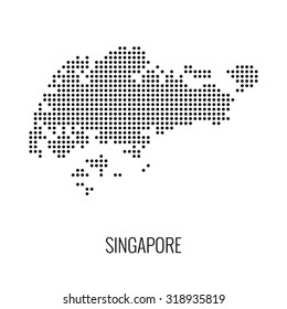 Singapore dotted map,vector
