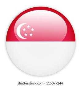Singapore flag button on white