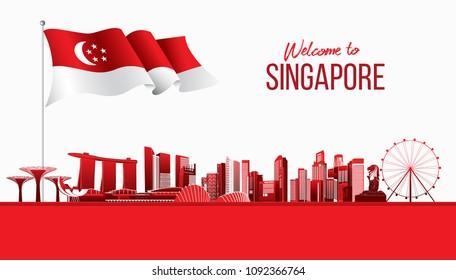 Singapore flag and city skyline. vector illustration