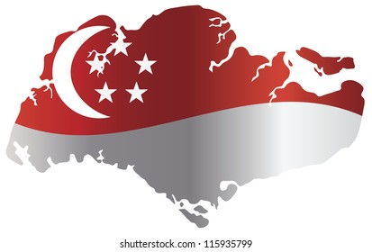 Singapore Flag in Country Map Silhouette Isolated on White Background Vector Illustration