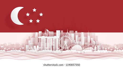 Singapore flag and famous landmarks in paper cut style vector illustration.