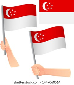 Singapore flag in hand. Patriotic background. National flag of Singapore vector illustration