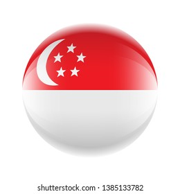 Singapore flag icon in the form of a ball. Vector eps 10