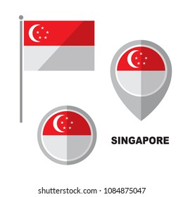 Singapore flag and map pointer isolated on white background. Republic of Singapore  national symbol. Vector flat design collection.