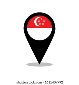 Singapore flag on the map pin. vector of Singapore flag.