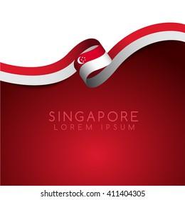 Singapore Flag Ribbon : Vector Illustration