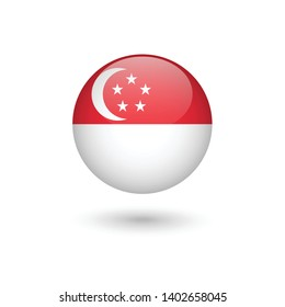 Singapore flag - round glossy button, Vector image and icon