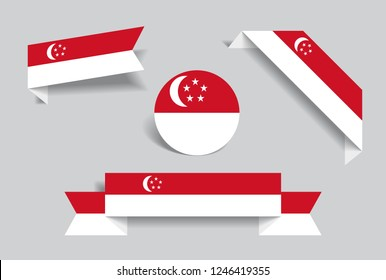 Singapore flag stickers and labels set. Vector illustration.