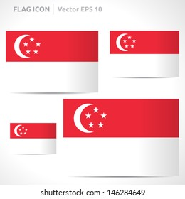 Singapore flag template | vector symbol design | color red and white | icon set
