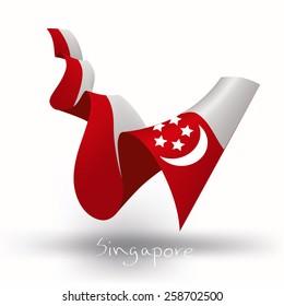 Singapore flag, three dimensional render