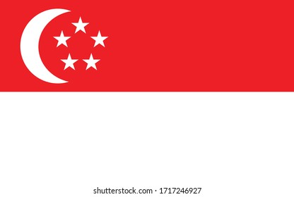 Singapore flag vector graphic. Rectangle Singaporean flag illustration. Singapore country flag is a symbol of freedom, patriotism and independence.