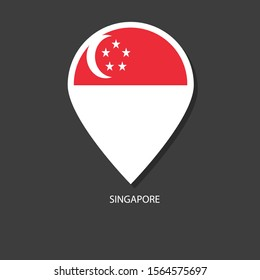 Singapore flag Vector marker with flags.