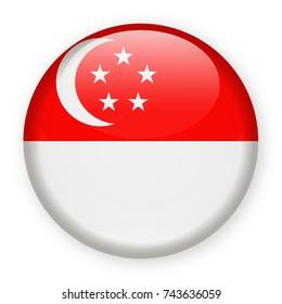 Singapore Flag Vector Round Icon - Illustration