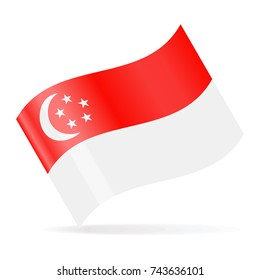 Singapore Flag Vector Waving Icon - Illustration