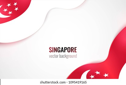 Singapore flags isolated on white. Happy independence day abstract background. Vector illustration
