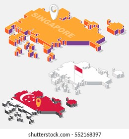 Singapore flags on map element with 3D isometric shape isolated on background, vector illustration