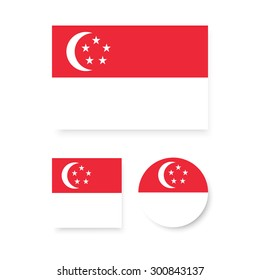 Singapore flags. Vector flat design. Icon for presentation, training, marketing, design, web. Can be used for creative template, logo, sign, craft. Isolated on white background.