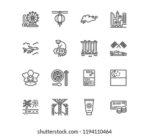 Singapore flat line icons. Tourism landmarks - ferris wheel, skyscrapers cityscape, orchid, zoo, cuisine vector illustrations. Thin signs for travel agency. Pixel perfect 64x64. Editable Strokes.