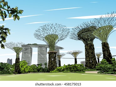 Singapore. Gardens by the Bay. Unusual perspective hand drawn sketch. City vector illustration