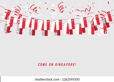 Singapore garland flag with confetti on gray background, Hang bunting for Singapore celebration template banner.