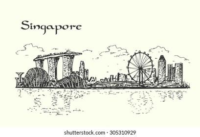 Singapore hand drawn isolated illustration