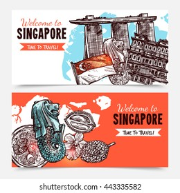 Singapore hand drawn sketch banners with hotel marina bay sands Merlin and orchid images vector illustration