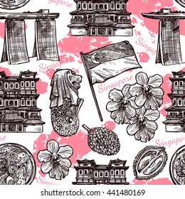 Singapore hand drawn sketch seamless pattern with orchid traditional food flag and famous architecture vector illustration